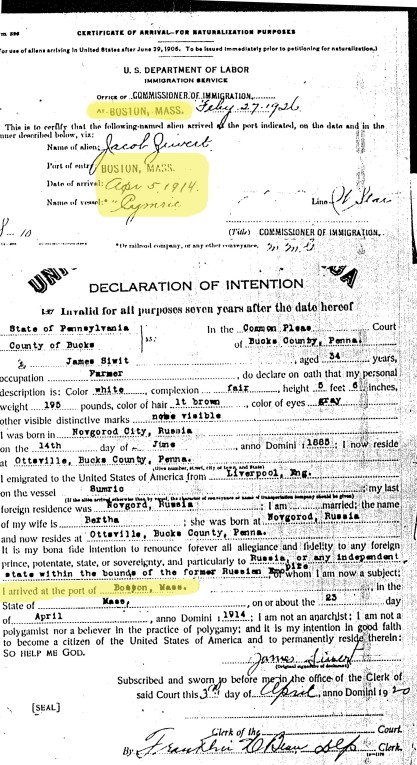 Naturalization papers of James Siwert (aka Yakab Ziverts)